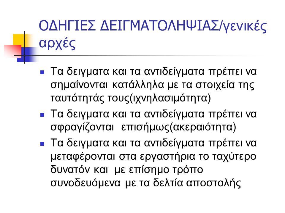ΟΔΗΓΙΕΣ ΔΕΙΓΜΑΤΟΛΗΨΙΑΣ/γενικές αρχές