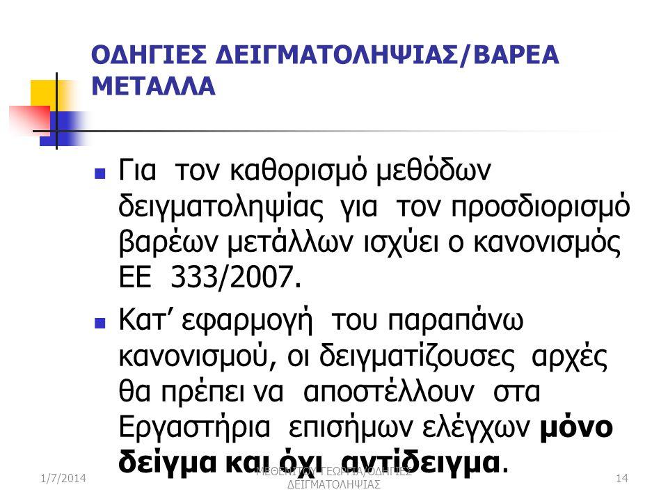 ΟΔΗΓΙΕΣ ΔΕΙΓΜΑΤΟΛΗΨΙΑΣ/ΒΑΡΕΑ ΜΕΤΑΛΛΑ