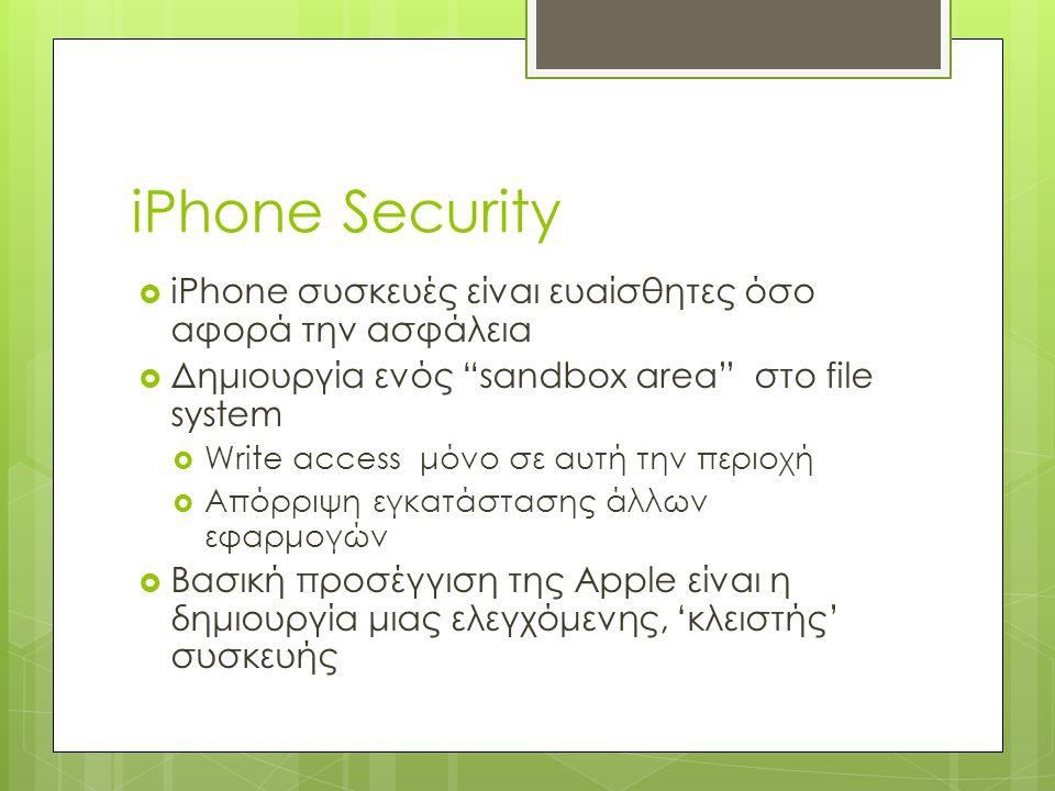 iPhone Security iPhone συσκευές είναι ευαίσθητες όσο αφορά την ασφάλεια. Δημιουργία ενός sandbox area στο file system.
