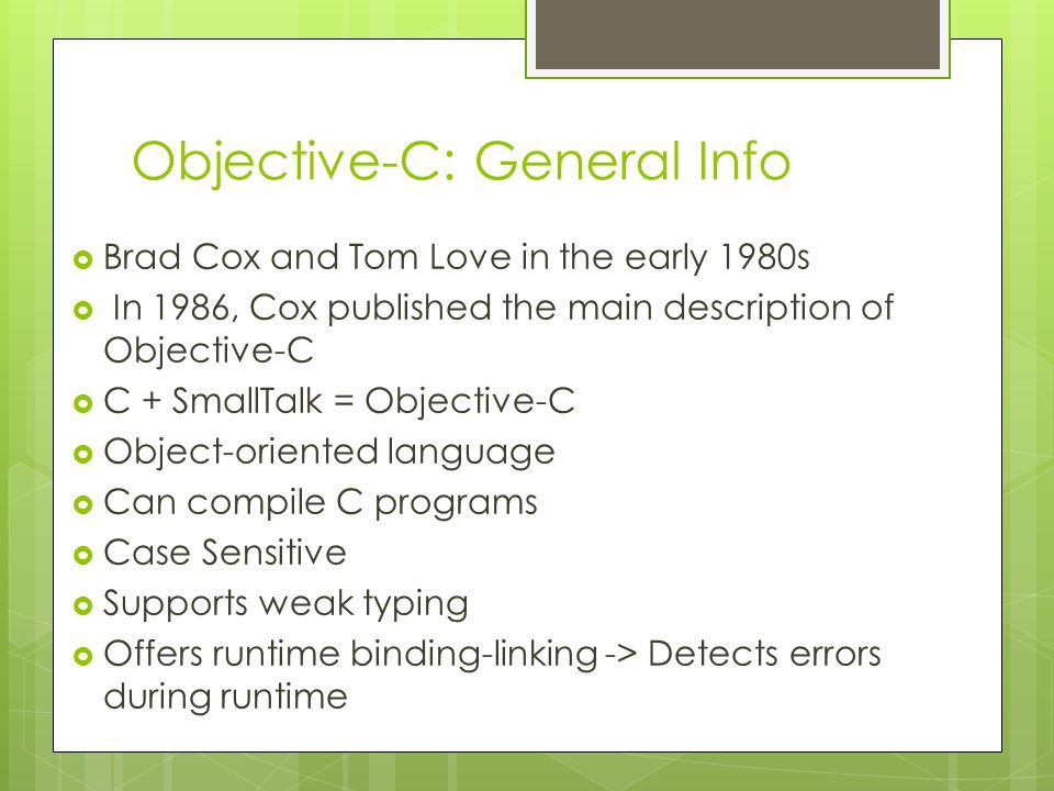 Objective-C: General Info