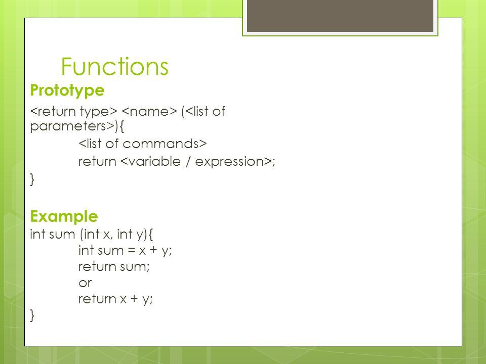 Functions Prototype Example
