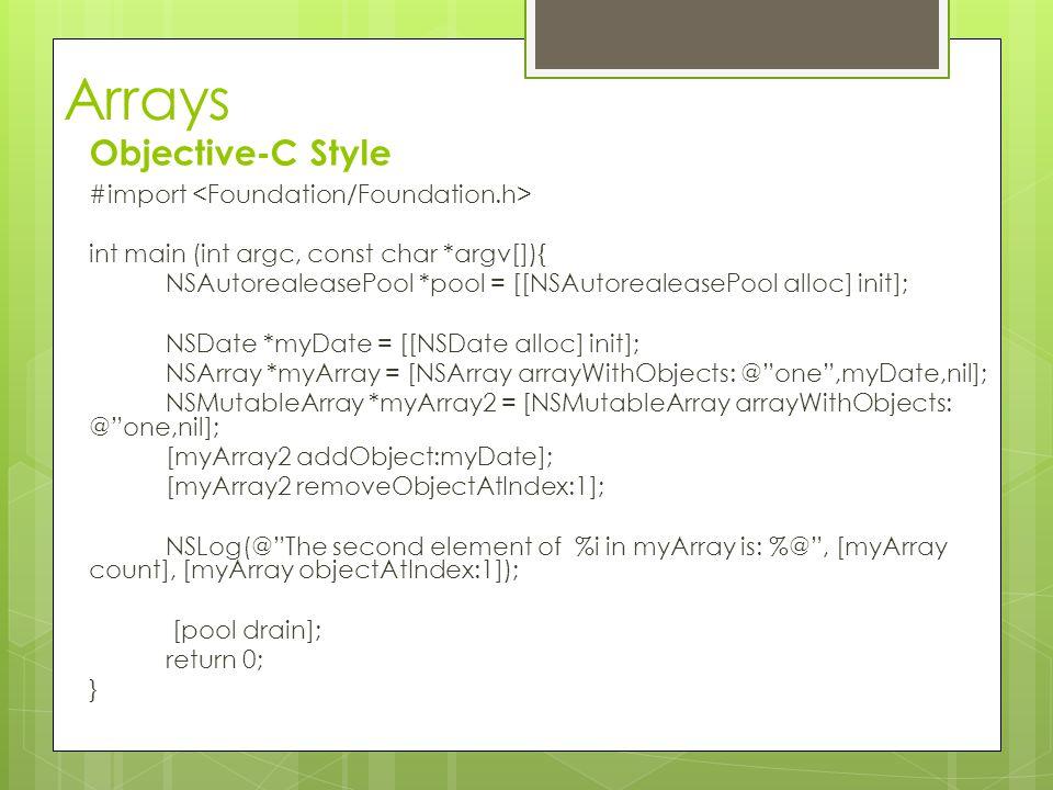 Arrays Objective-C Style