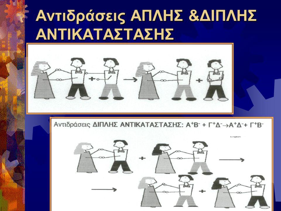 Αντιδράσεις ΑΠΛΗΣ &ΔΙΠΛΗΣ ΑΝΤΙΚΑΤΑΣΤΑΣΗΣ