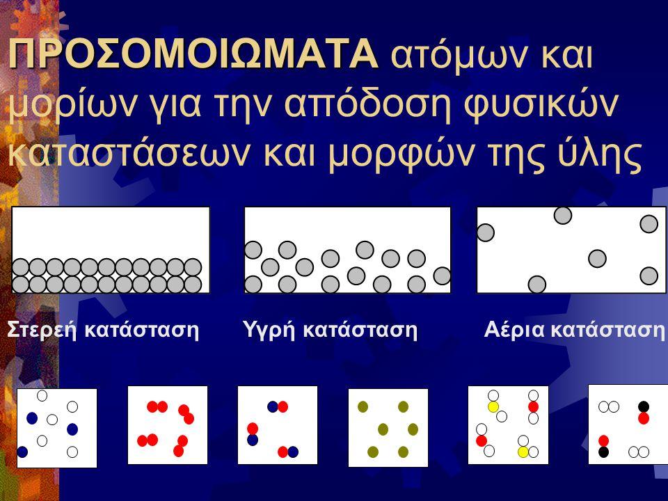ΠΡΟΣΟΜΟΙΩΜΑΤΑ ατόμων και μορίων για την απόδοση φυσικών καταστάσεων και μορφών της ύλης