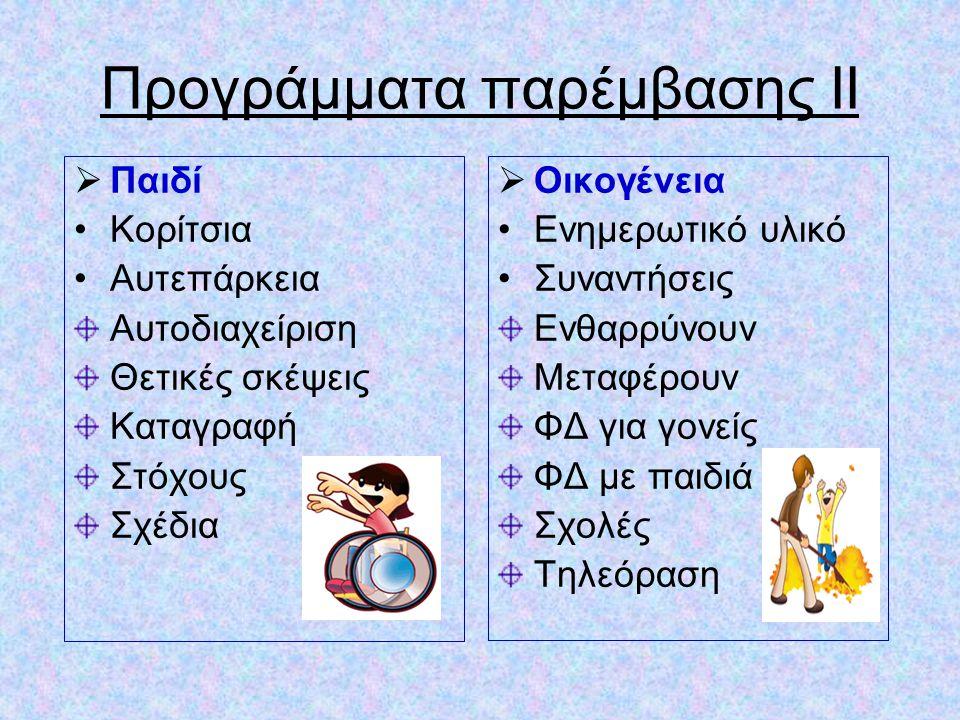 Προγράμματα παρέμβασης ΙΙ