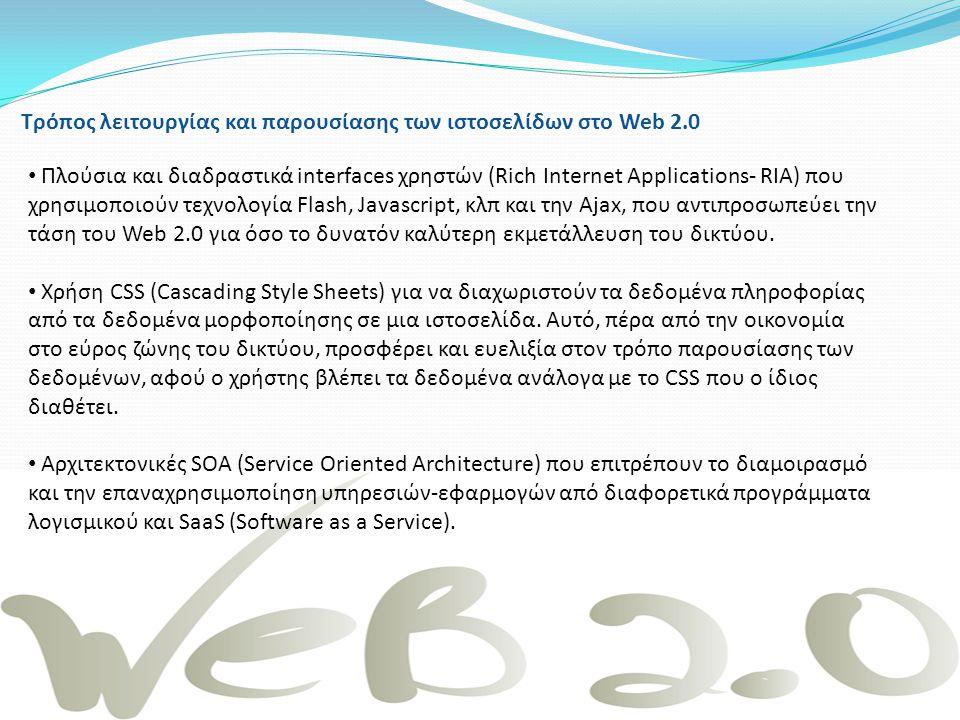 Tρόπος λειτουργίας και παρουσίασης των ιστοσελίδων στο Web 2.0