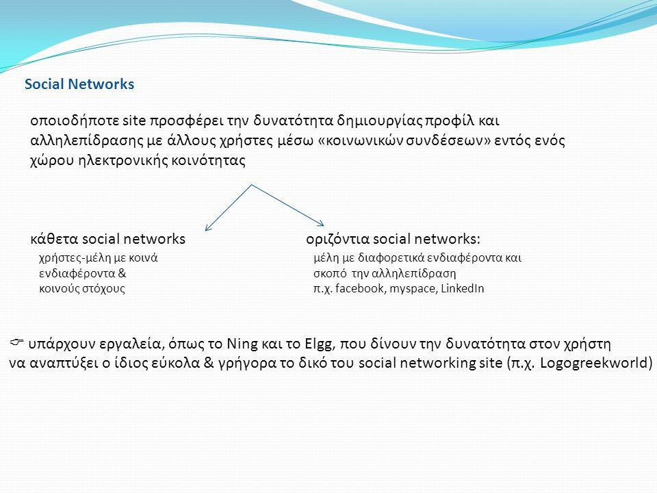 κάθετα social networks οριζόντια social networks: