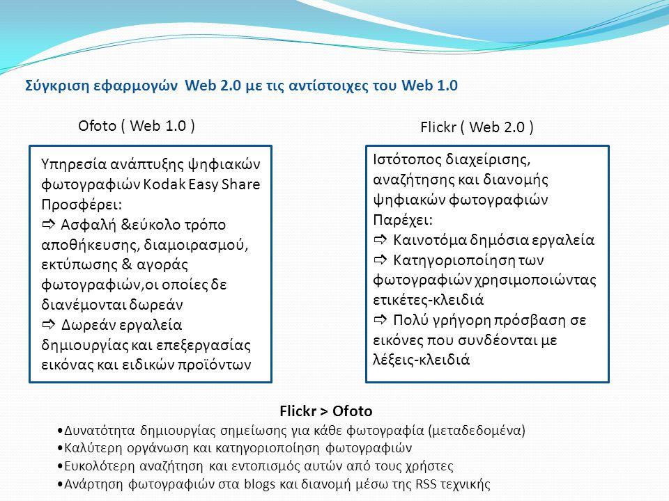 Σύγκριση εφαρμογών Web 2.0 με τις αντίστοιχες του Web 1.0