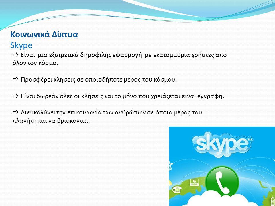 Κοινωνικά Δίκτυα Skype