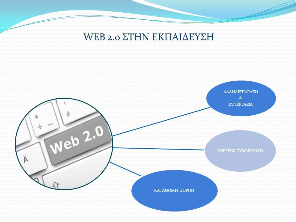 WEB 2.0 ΣΤΗΝ ΕΚΠΑΙΔΕΥΣΗ ΑΛΛΗΛΕΠΙΔΡΑΣΗ & ΣΥΝΕΡΓΑΣΙΑ ΕΝΕΡΓΟΣ ΣΥΜΜΕΤΟΧΗ