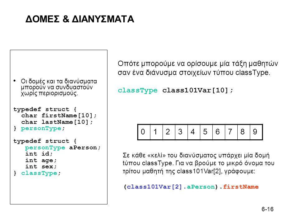 ΔΟΜΕΣ & ΔΙΑΝΥΣΜΑΤΑ Οπότε μπορούμε να ορίσουμε μία τάξη μαθητών. σαν ένα διάνυσμα στοιχείων τύπου classType.