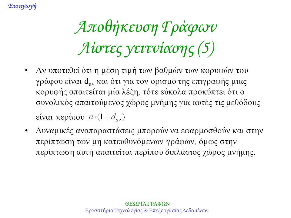 Αποθήκευση Γράφων Λίστες γειτνίασης (5)