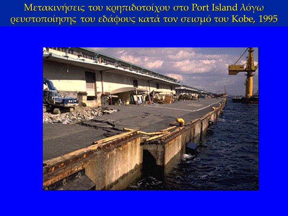 Μετακινήσεις του κρηπιδοτοίχου στο Port Island λόγω ρευστοποίησης του εδάφους κατά τον σεισμό του Kobe, 1995