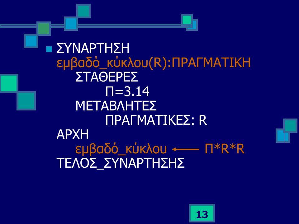 ΣΥΝΑΡΤΗΣΗ εμβαδό_κύκλου(R):ΠΡΑΓΜΑΤΙΚΗ. ΣΤΑΘΕΡΕΣ. Π=3. 14. ΜΕΤΑΒΛΗΤΕΣ