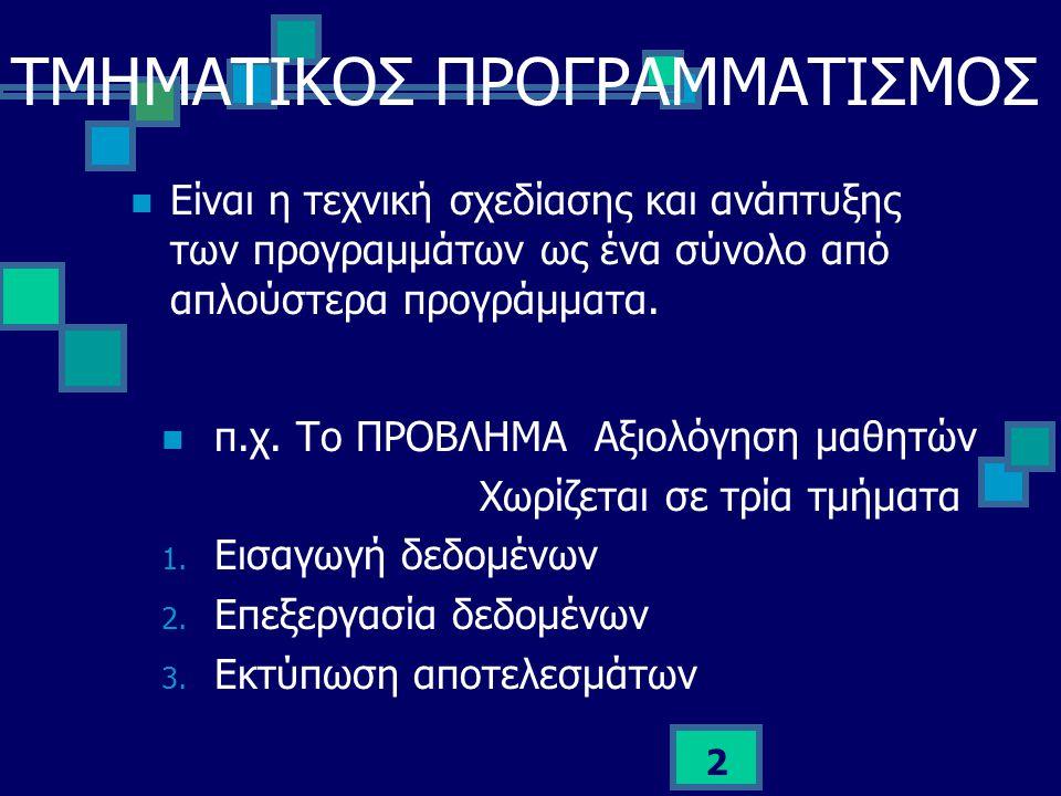 ΤΜΗΜΑΤΙΚΟΣ ΠΡΟΓΡΑΜΜΑΤΙΣΜΟΣ