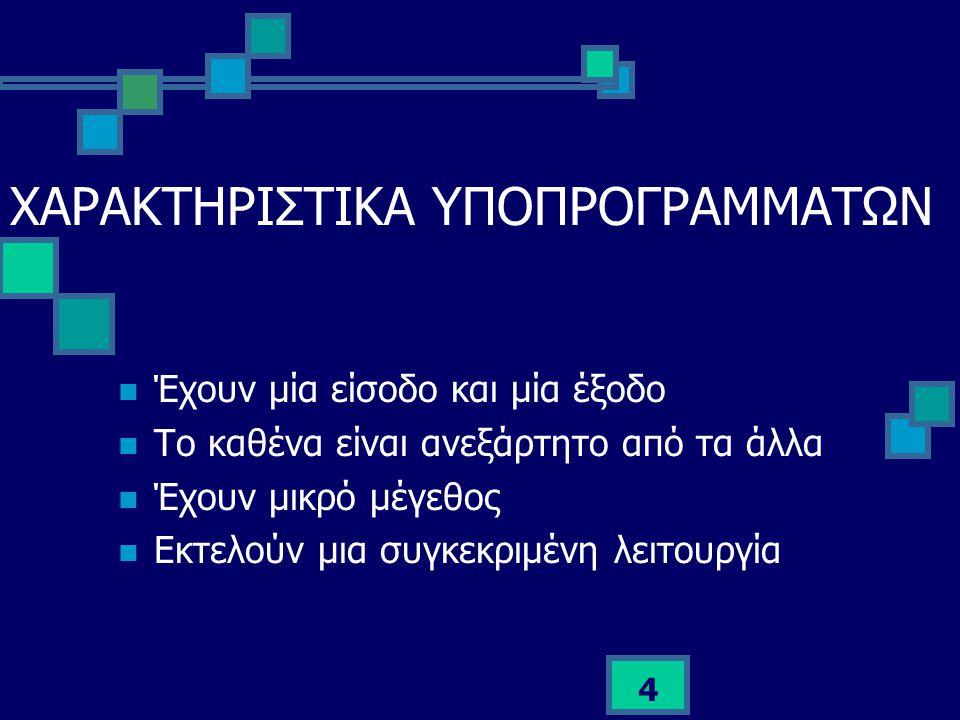 ΧΑΡΑΚΤΗΡΙΣΤΙΚΑ ΥΠΟΠΡΟΓΡΑΜΜΑΤΩΝ