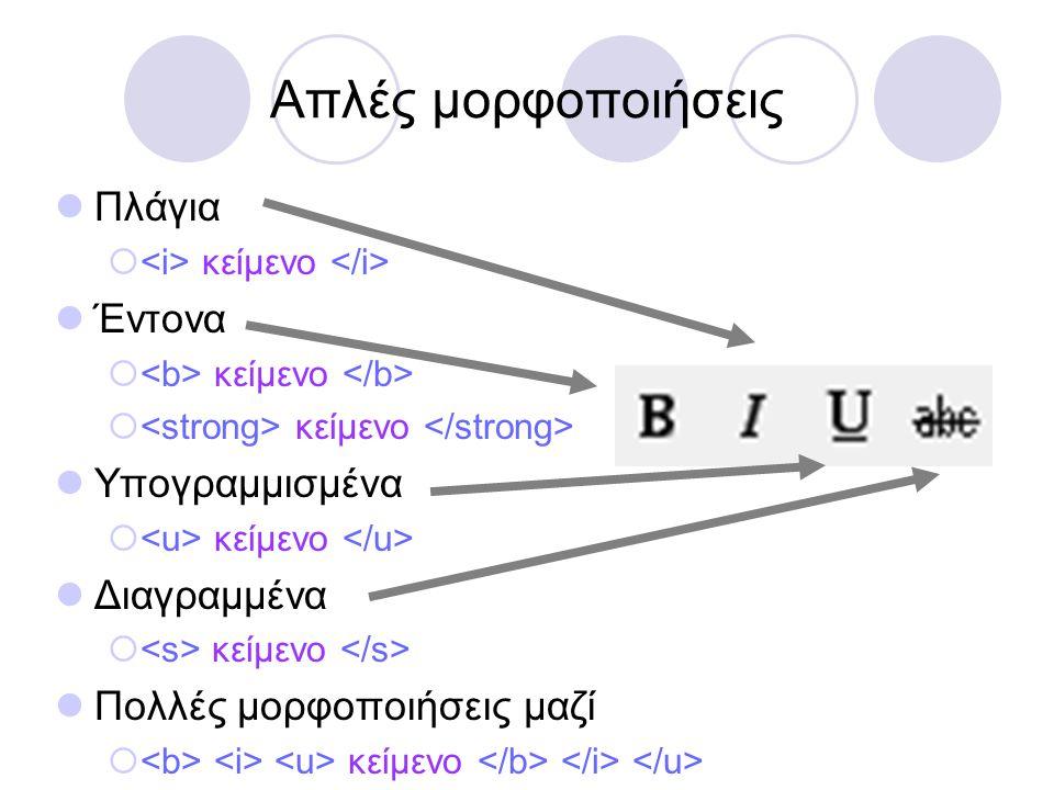 Απλές μορφοποιήσεις Πλάγια Έντονα Υπογραμμισμένα Διαγραμμένα