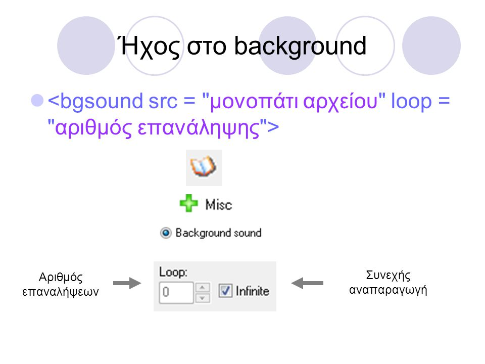 Ήχος στο background <bgsound src = μονοπάτι αρχείου loop = αριθμός επανάληψης > Αριθμός επαναλήψεων.