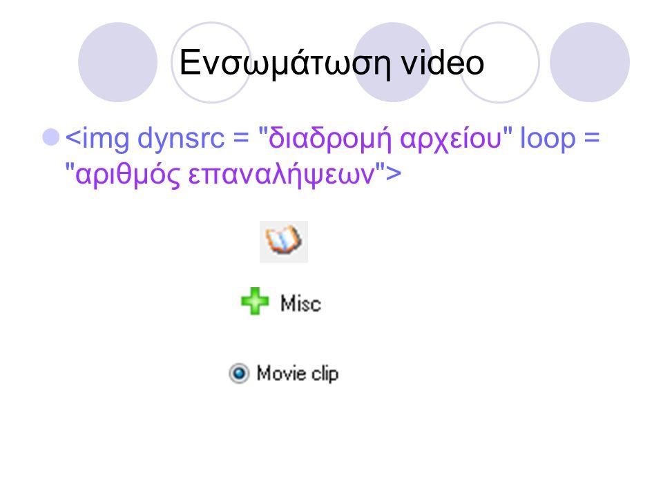 Ενσωμάτωση video <img dynsrc = διαδρομή αρχείου loop = αριθμός επαναλήψεων >