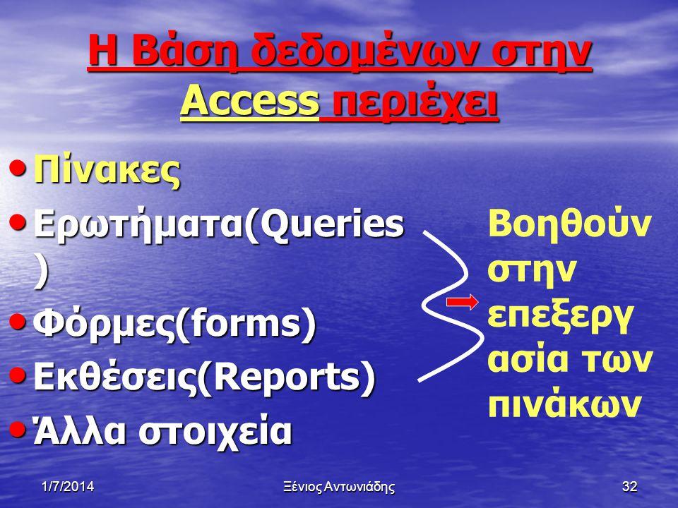 Η Βάση δεδομένων στην Access περιέχει