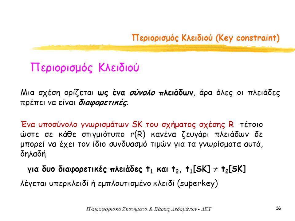 Περιορισμός Κλειδιού (Key constraint)