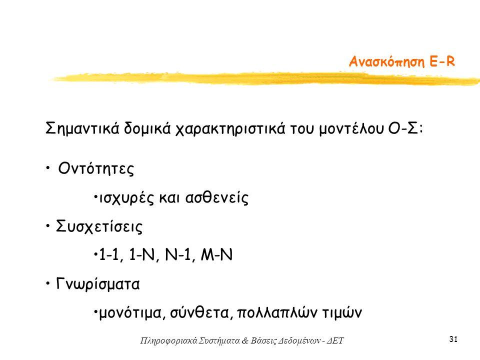 Σημαντικά δομικά χαρακτηριστικά του μοντέλου Ο-Σ:
