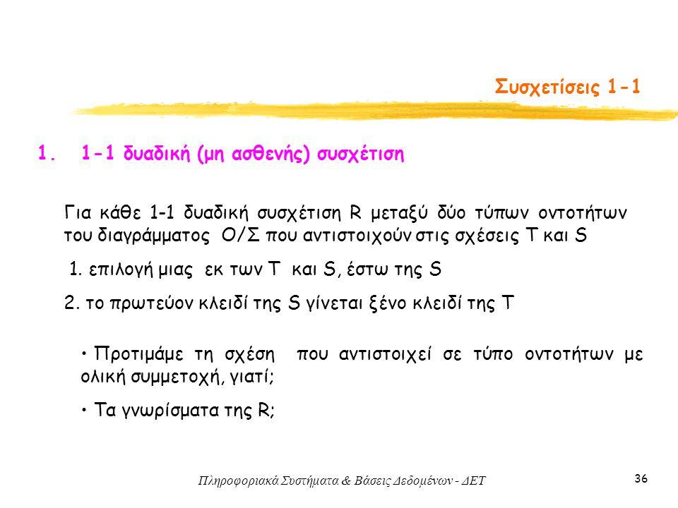 Συσχετίσεις 1-1 1. 1-1 δυαδική (μη ασθενής) συσχέτιση.