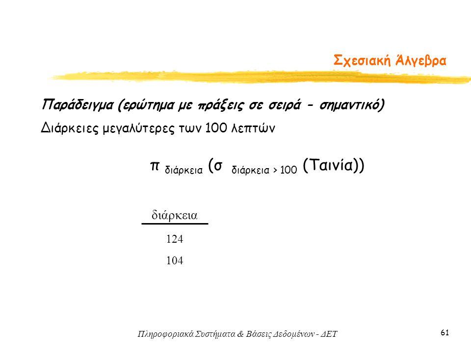 π διάρκεια (σ διάρκεια > 100 (Ταινία))