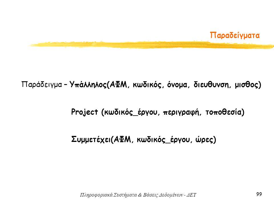 Παραδείγματα Παράδειγμα – Υπάλληλος(ΑΦΜ, κωδικός, όνομα, διευθυνση, μισθος) Project (κωδικός_έργου, περιγραφή, τοποθεσία)