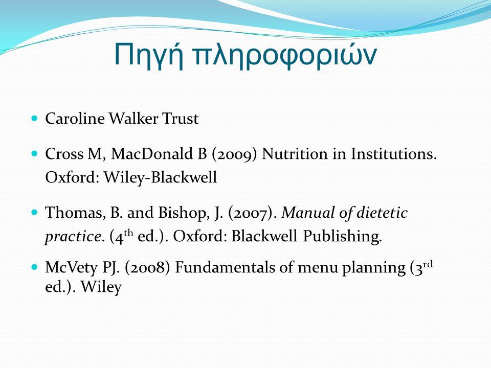 Πηγή πληροφοριών Caroline Walker Trust