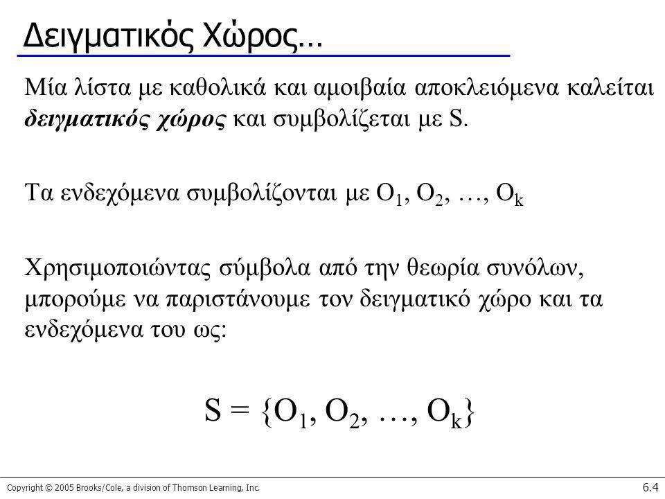Δειγματικός Χώρος… S = {O1, O2, …, Ok}
