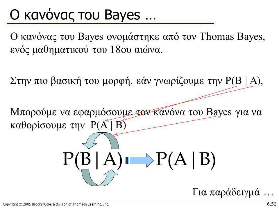 P(B|A) P(A|B) Ο κανόνας του Bayes …
