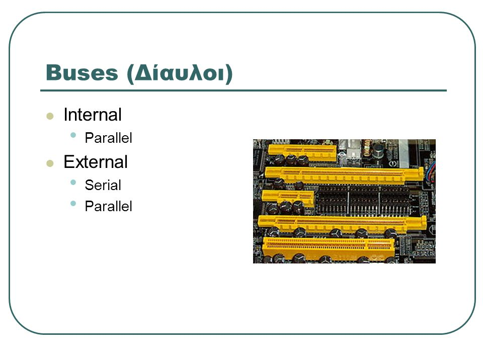 Buses (Δίαυλοι) Internal Parallel External Serial