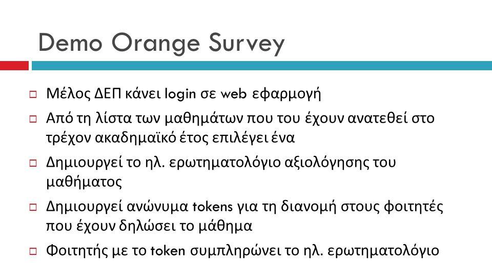 Demo Orange Survey Μέλος ΔΕΠ κάνει login σε web εφαρμογή