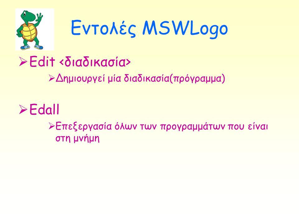 Εντολές MSWLogo Edit <διαδικασία> Edall