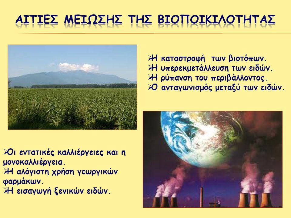 Αιτιεσ μειωσησ της βιοποικιλοτητασ
