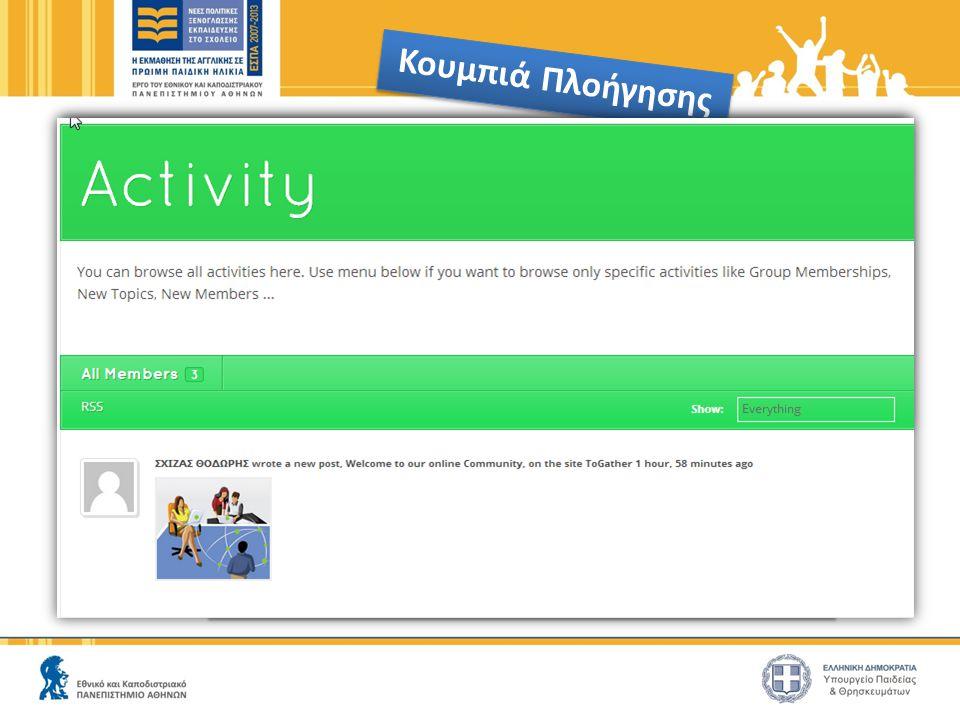 Κουμπιά Πλοήγησης Λίστα ενεργειών των μελών της Κοινότητας