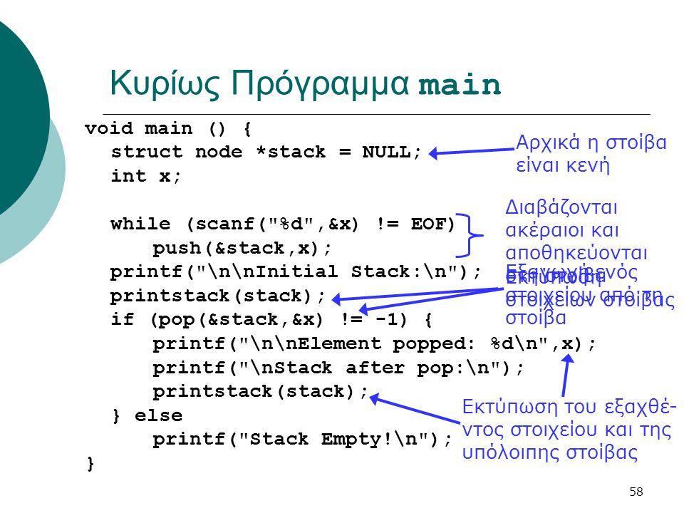 Κυρίως Πρόγραμμα main void main () { struct node *stack = NULL; int x;
