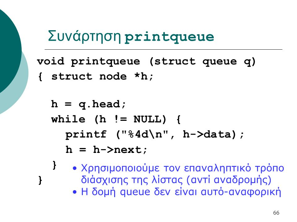 Συνάρτηση printqueue void printqueue (struct queue q)