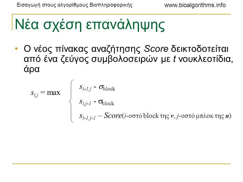 Νέα σχέση επανάληψης Ο νέος πίνακας αναζήτησης Score δεικτοδοτείται από ένα ζεύγος συμβολοσειρών με t νουκλεοτίδια, άρα.