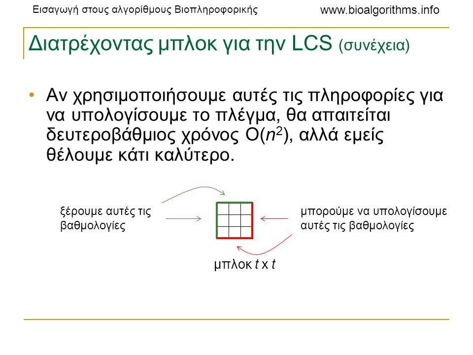 Διατρέχοντας μπλοκ για την LCS (συνέχεια)