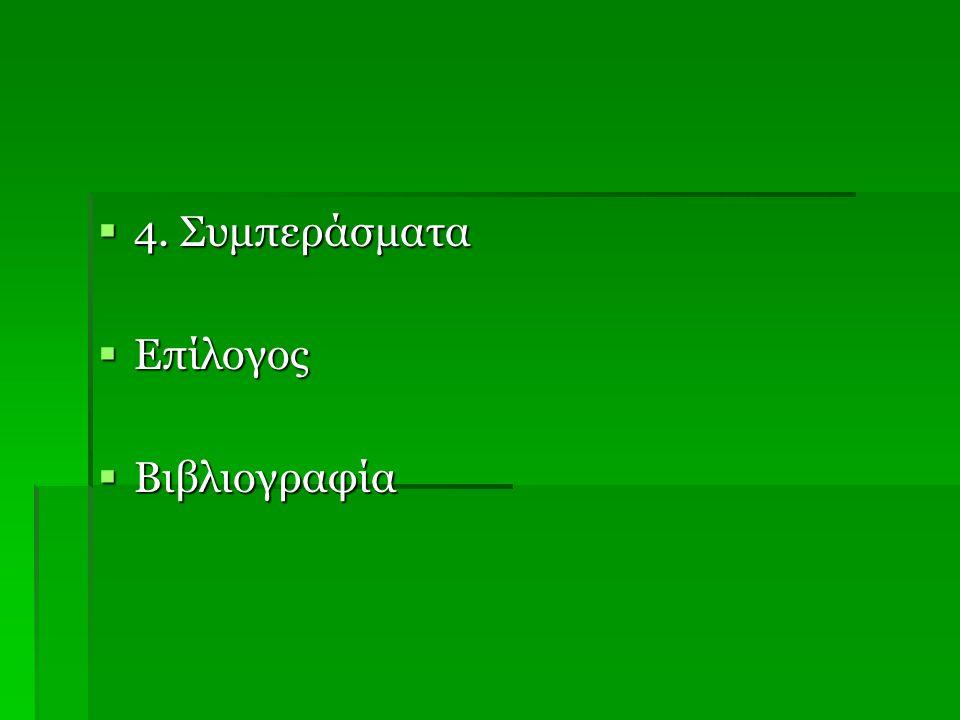 4. Συμπεράσματα Επίλογος Βιβλιογραφία