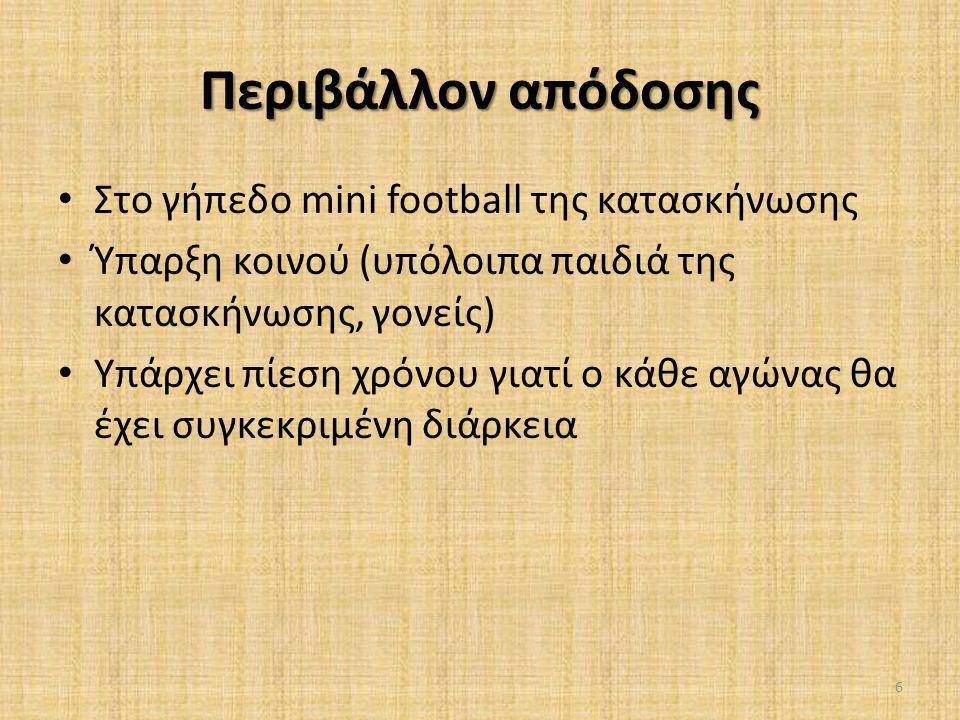 Περιβάλλον απόδοσης Στο γήπεδο mini football της κατασκήνωσης