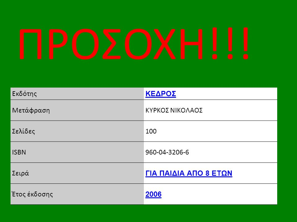 ΠΡΟΣΟΧΗ!!! Εκδότης ΚΕΔΡΟΣ Μετάφραση ΚΥΡΚΟΣ ΝΙΚΟΛΑΟΣ Σελίδες 100 ISBN