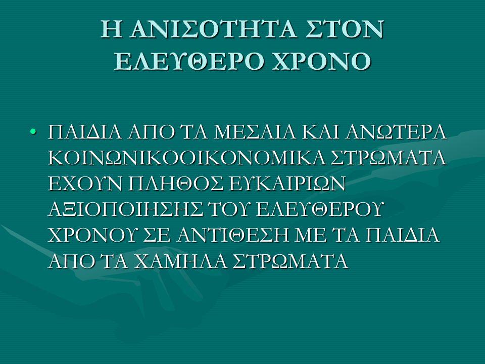 Η ΑΝΙΣΟΤΗΤΑ ΣΤΟΝ ΕΛΕΥΘΕΡΟ ΧΡΟΝΟ