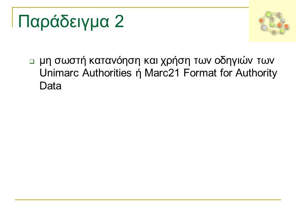 Παράδειγμα 2 μη σωστή κατανόηση και χρήση των οδηγιών των Unimarc Authorities ή Marc21 Format for Authority Data.