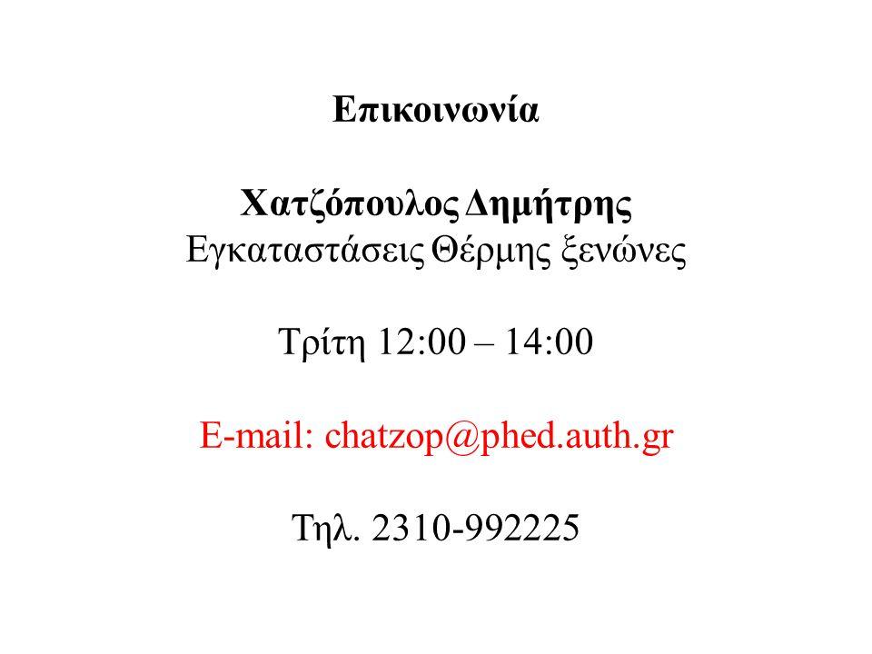Επικοινωνία Χατζόπουλος Δημήτρης