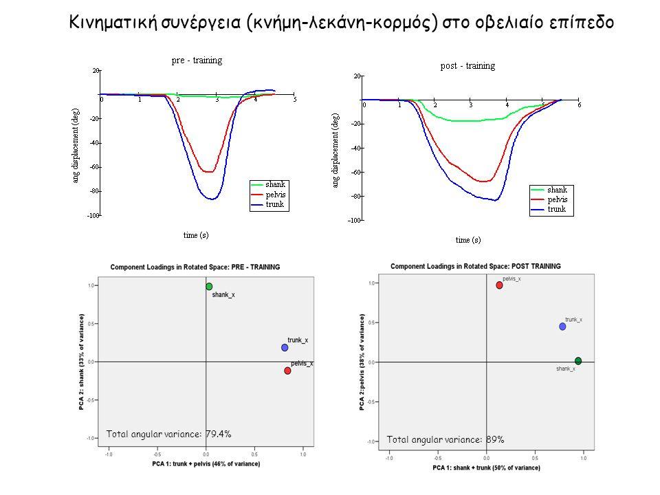 Κινηματική συνέργεια (κνήμη-λεκάνη-κορμός) στο οβελιαίο επίπεδο