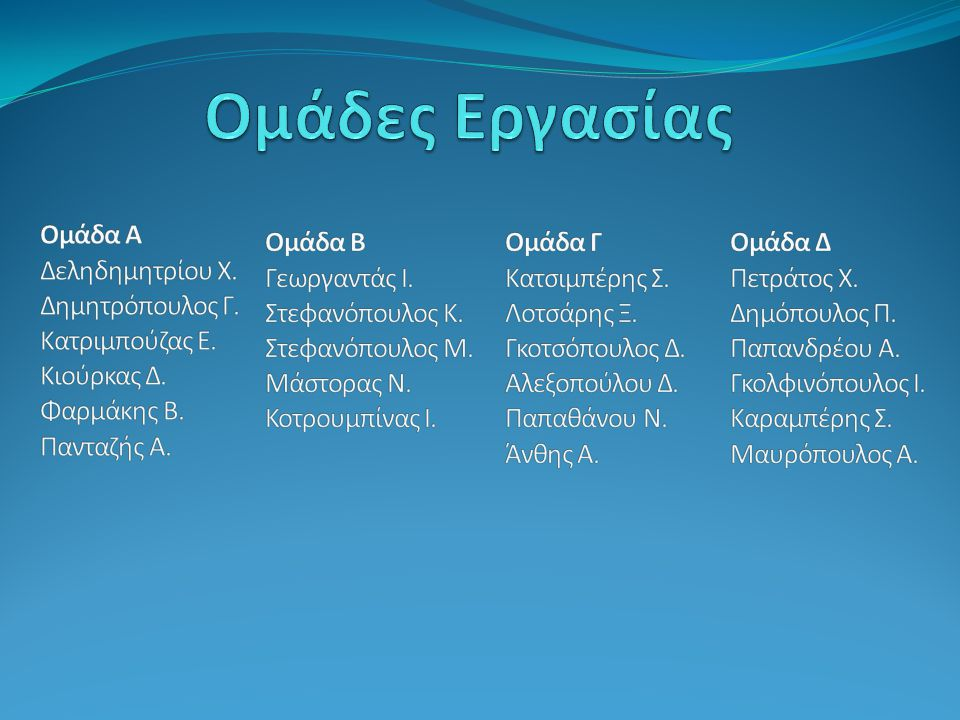 Ομάδες Εργασίας Ομάδα Α Δεληδημητρίου Χ. Δημητρόπουλος Γ.