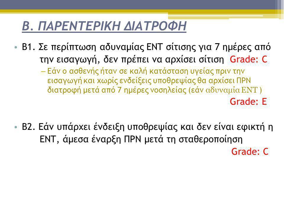 Β. ΠΑΡΕΝΤΕΡΙΚΗ ΔΙΑΤΡΟΦΗ